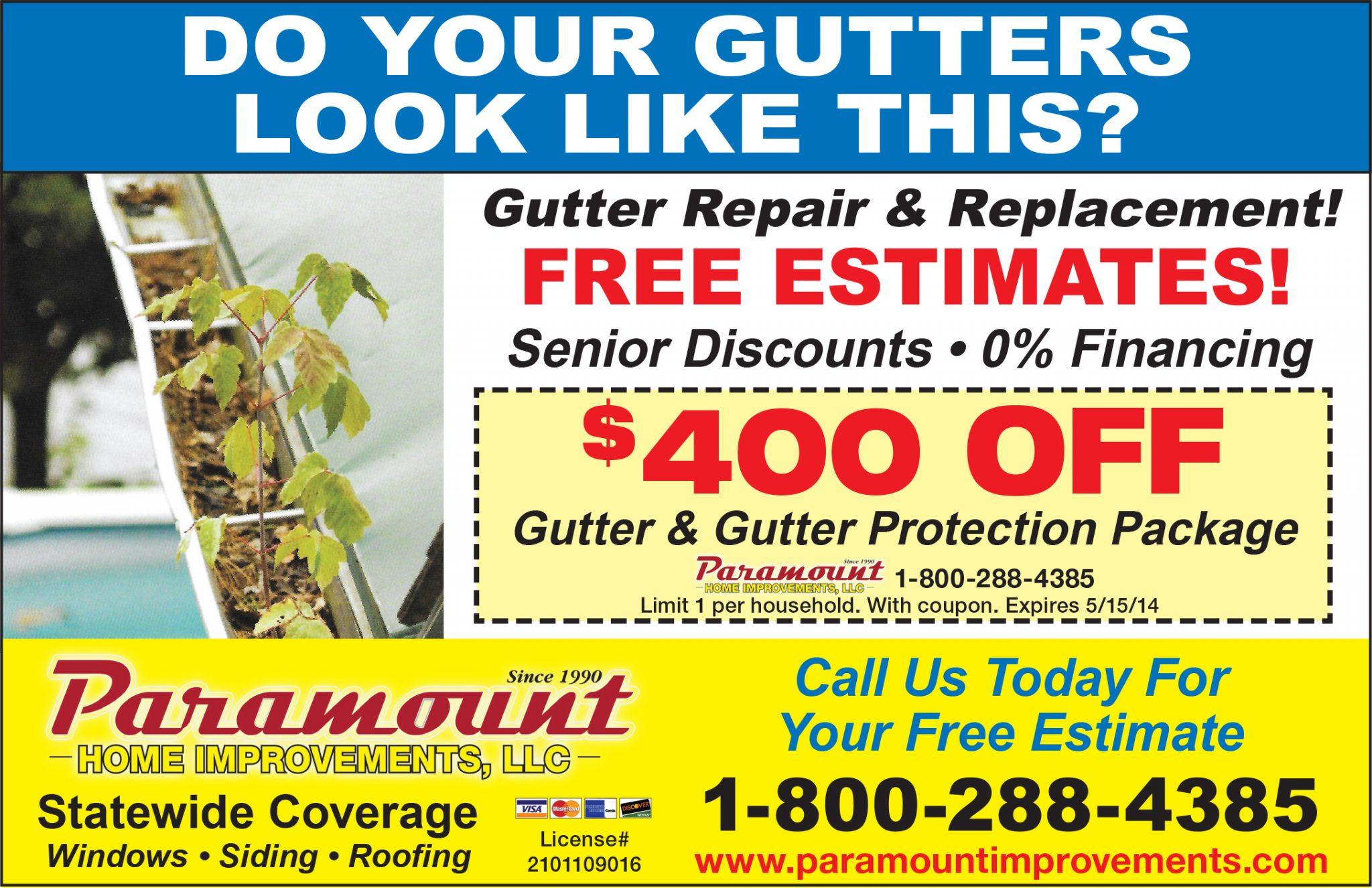 Gutters Amp Gutter Guards Paramount Improvements Llc
